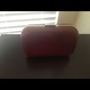 Banana Republic leather red clutch